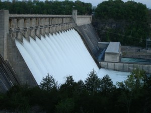 Bull Shoals Dam with all Flood Gates Open 2008